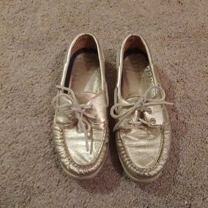 Sperry Gold Metallic Boat Shoes